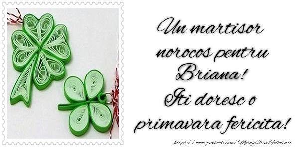 Felicitari de Martisor   Un martisor norocos pentru Briana! Iti doresc o primavara fericita!