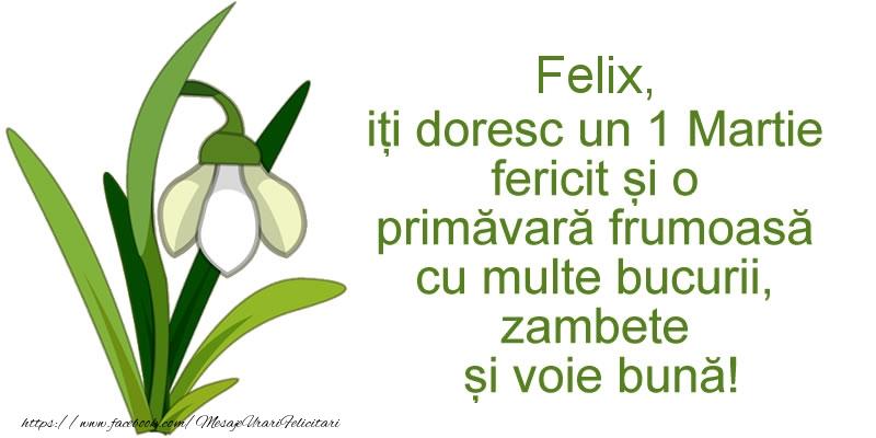 Felicitari de Martisor | Felix, iti doresc un 1 Martie fericit si o primavara frumoasa cu multe bucurii, zambete si voie buna!