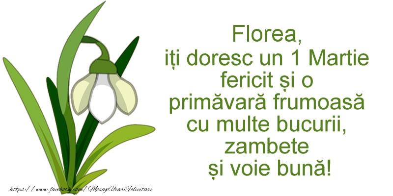 Felicitari de Martisor | Florea, iti doresc un 1 Martie fericit si o primavara frumoasa cu multe bucurii, zambete si voie buna!