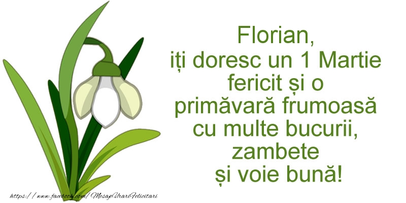 Felicitari de Martisor   Florian, iti doresc un 1 Martie fericit si o primavara frumoasa cu multe bucurii, zambete si voie buna!