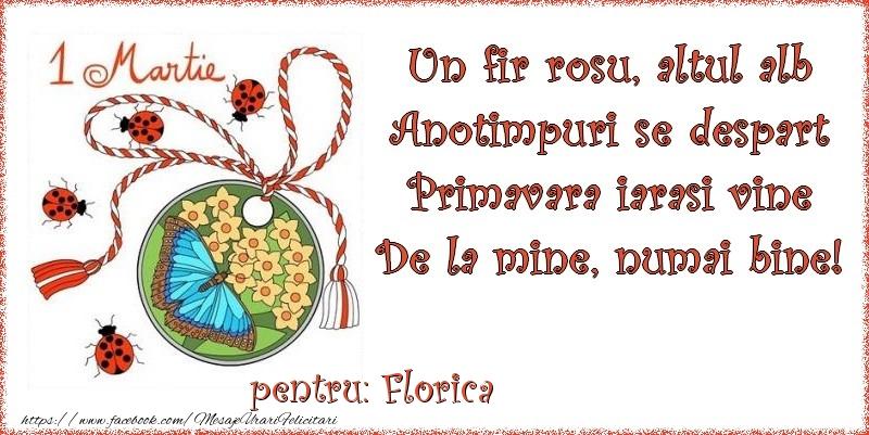 Felicitari de Martisor | Un fir rosu, altul alb ... Pentru Florica!