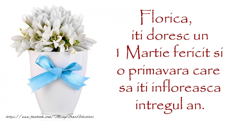 Felicitari de Martisor | Florica iti doresc un 1 Martie fericit si o primavara care sa iti infloreasca intregul an.
