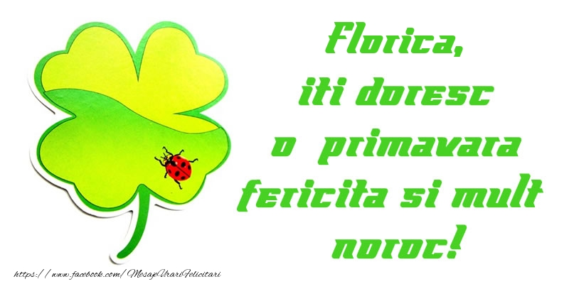 Felicitari de Martisor | Florica iti doresc o primavara fericita si mult noroc!