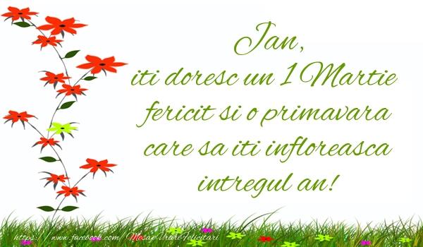 Felicitari de Martisor   Jan iti doresc un 1 Martie  fericit si o primavara care sa iti infloreasca intregul an!
