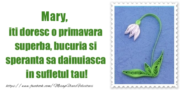 Felicitari de Martisor   Mary iti doresc o primavara superba, bucuria si  speranta sa dainuiasca in sufletul tau!
