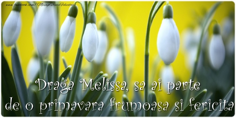 Felicitari de Martisor   Draga Melissa, sa ai parte de o primavara frumoasa si fericita