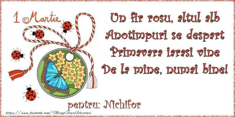 Felicitari de Martisor | Un fir rosu, altul alb ... Pentru Nichifor!