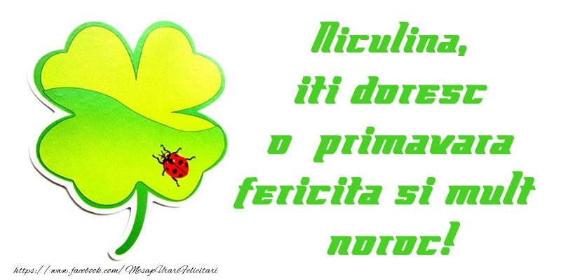 Felicitari de Martisor | Niculina iti doresc o primavara fericita si mult noroc!