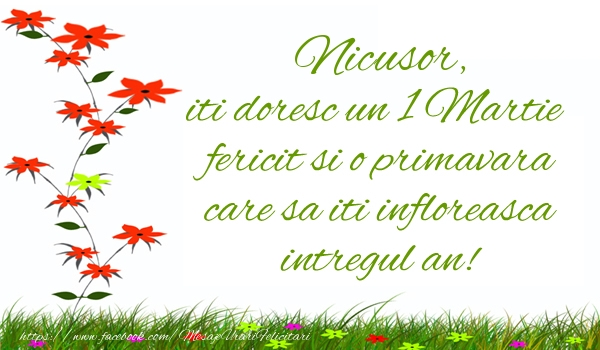 Felicitari de Martisor | Nicusor iti doresc un 1 Martie  fericit si o primavara care sa iti infloreasca intregul an!
