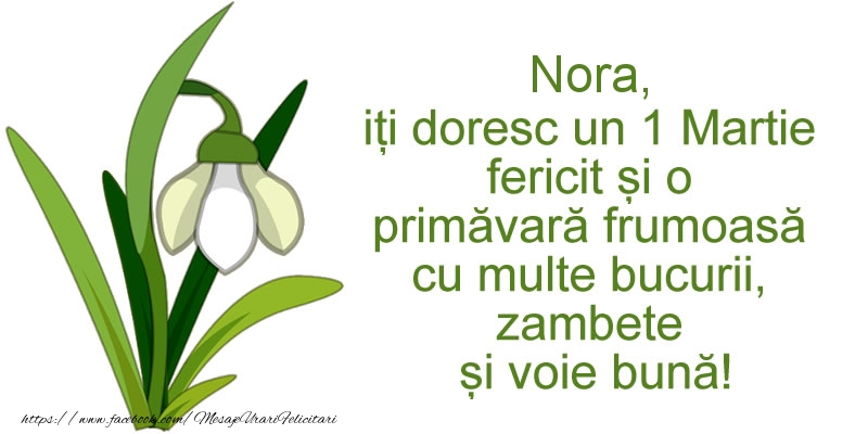 Felicitari de Martisor   Nora, iti doresc un 1 Martie fericit si o primavara frumoasa cu multe bucurii, zambete si voie buna!