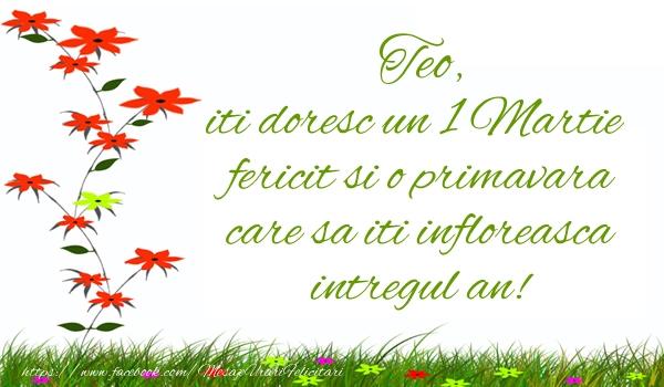 Felicitari de Martisor   Teo iti doresc un 1 Martie  fericit si o primavara care sa iti infloreasca intregul an!