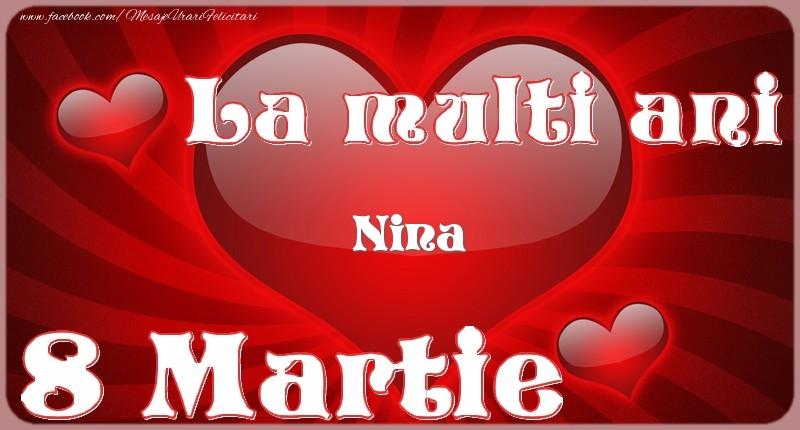 Felicitari 8 Martie Ziua Femeii | La multi ani Nina