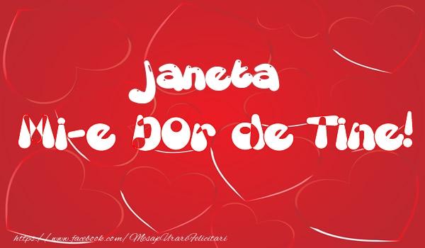 Felicitari de dragoste | Janeta mi-e dor de tine!