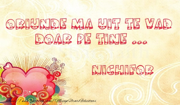 Felicitari de dragoste   Oriunde ma uit te vad  doar pe tine Nichifor!