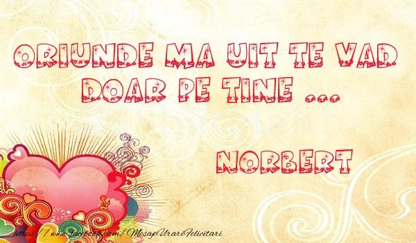 Felicitari de dragoste | Oriunde ma uit te vad  doar pe tine Norbert!