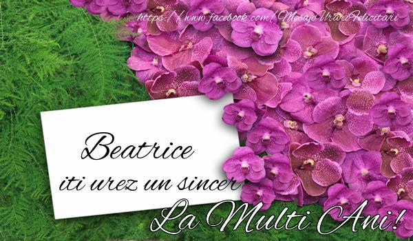 Felicitari de la multi ani   Beatrice iti urez un sincer La multi Ani!