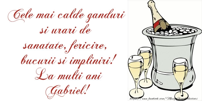 Felicitari de la multi ani   Cele mai calde ganduri si urari de sanatate, fericire, bucurii si impliniri! La multi ani Gabriel!