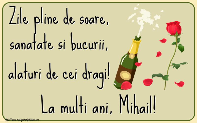 Felicitari de la multi ani   Zile pline de soare, sanatate si bucurii, alaturi de cei dragi! La multi ani, Mihail!