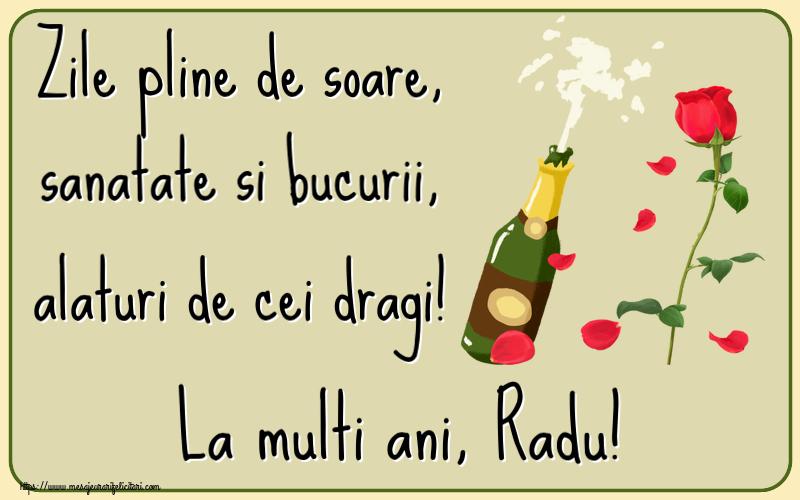 Felicitari de la multi ani   Zile pline de soare, sanatate si bucurii, alaturi de cei dragi! La multi ani, Radu!