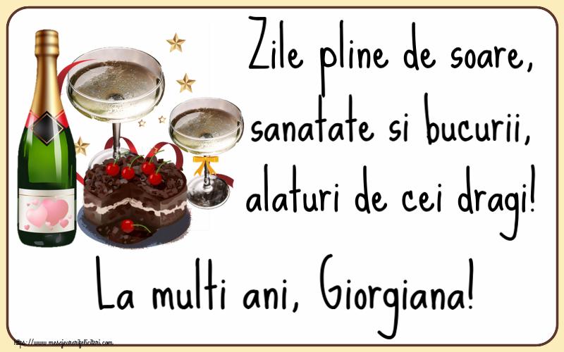 Felicitari de zi de nastere | Zile pline de soare, sanatate si bucurii, alaturi de cei dragi! La multi ani, Giorgiana!